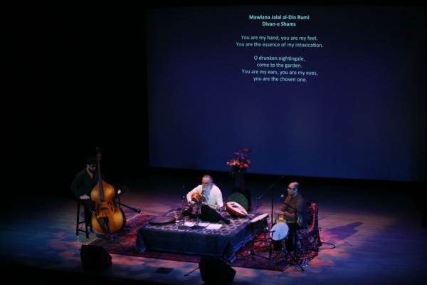 "Davod Azad and accompanists onstage at Asia Society New York on Jan. 31, 2015. ""I don't believe in a big ensemble,"" Azad told Asia Society. (Ellen Wallop/Asia Society)"