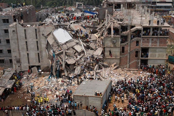 Aerial shot of the remains of the Rana Plaza building in Dhaka, Bangladesh. (Wikimedia Commons)