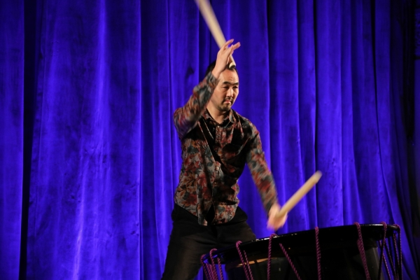 A taiko drummer entertains the crowd at the Asia Game Changer awards.