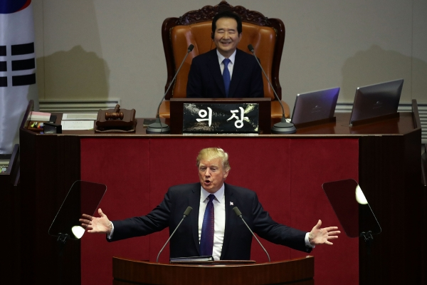 President Donald Trump addresses the South Korean parliament.