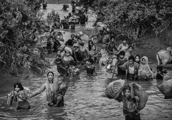Rohingya Crossing the Stream