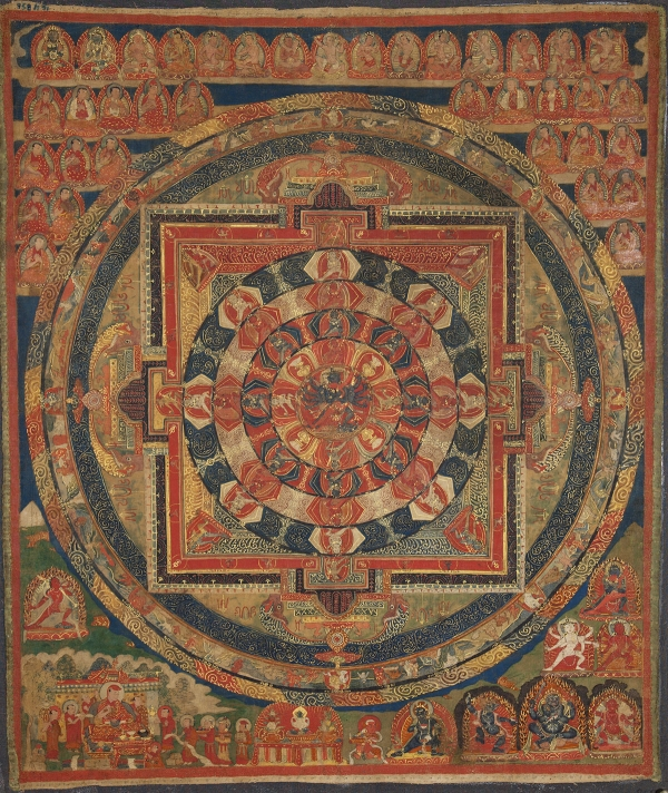 "Chakrasamvara Mandala. 16th–17th century. U (Central Tibet). Tradition: Sakya. Pigments on cloth. MU-CIV/MAO ""Giuseppe Tucci,"" inv. 958/791. Image courtesy of the Museum of Civilisation/Museum of Oriental Art ""Giuseppe Tucci,"" Rome."