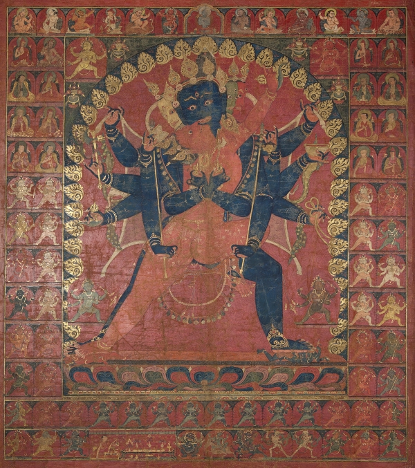 "Chakrasamvara Mandala Assembly. 15th century. Possibly Sakya Monastery. Tsang (South-Central Tibet). Tradition: Sakya. Pigments on cloth. MU-CIV/MAO ""Giuseppe Tucci,"" inv. 960/793. Image courtesy of the Museum of Civilisation/Museum of Oriental Art ""Giuseppe Tucci,"" Rome."