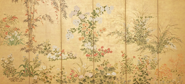 Attributed to Sōtatsu school. Flowers and Grasses of the Four Seasons. Edo period, about 1620–1650. Japan. Pair of six-panel folding screens; color and ink on gold leaf on paper. Each, H. 63 x W. 143 in. (160 x 363.2 cm). Asia Society, New York: Mr. and Mrs. John D. Rockefeller 3rd Acquisitions Fund, 1985.1.2. Photography by Synthescape, courtesy of Asia Society