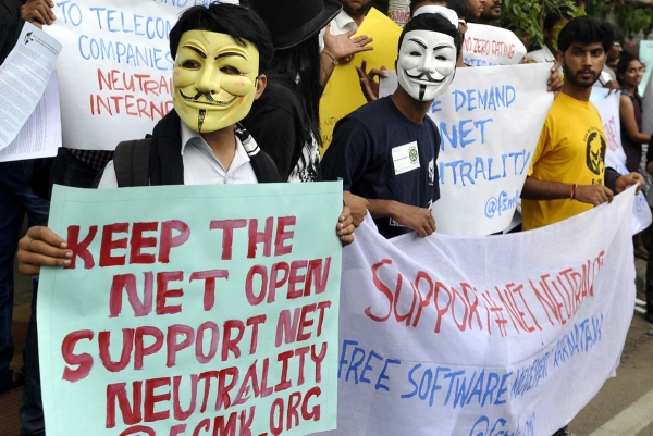 Protesters in India urge the retention of net neutrality in the country