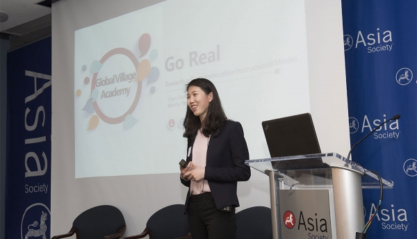 Chen Hong, an educator at the Global Village Academy in Colorado, presents during the 2018 Asia Society Chinese Language Teachers Institute. (Elena Olivo/Asia Society)