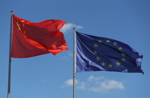 Chinese and EU flag