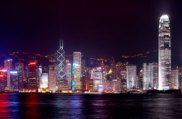 Hong Kong at night. (John Skodak/Flickr)