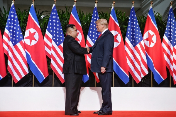 Kim Jong Un and Donald Trump meet in Singapore.