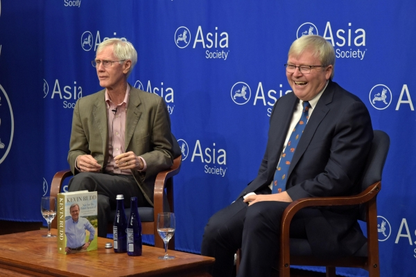 Orville Schell (L) and Kevin Rudd (R) discuss Chinese history at Asia Society.