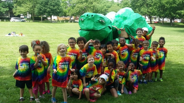 Kindergarten and first grade students celebrate the last day of school at field day