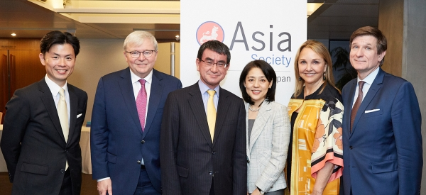 Asia Society global trustee James Kondo, Asia Society Policy Institute President Kevin Rudd, Japanese Foreign Minister Taro Kono, his wife Kaori Kono, Asia Society Lulu and Anthony Wang President and CEO Josette Sheeran, and Asia Society global trustee Thierry Porte, photographed on October 30, 2018 at the opening of Asia Society Japan in Tokyo, Japan.