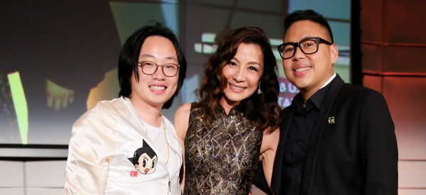 Actor Jimmy O. Yang, Michelle Yeoh, Actress and Star of Crazy Rich Asians and actor Nico Santos during the U.S.-China Entertainment Gala Dinner on Oct. 30, 2018 in Los Angeles, California. (Photo by Ryan Miller/Capture Imaging)