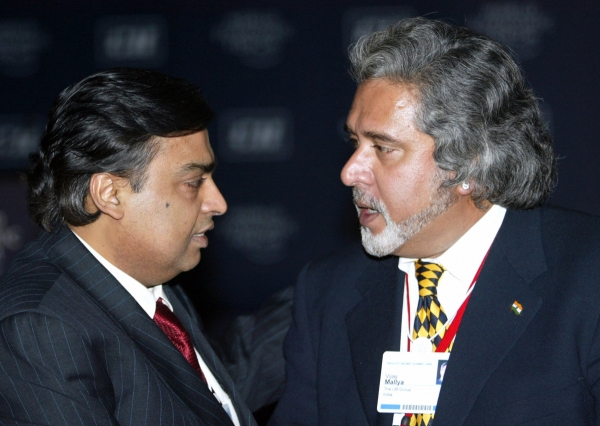 Mukesh Ambani (L) and Vijay Maliya (R)