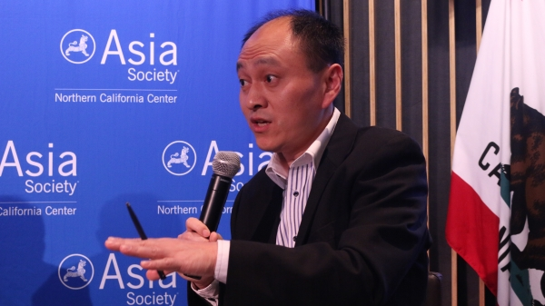 Hongbin Li responding to the panelists. (Kevin Kunze/Asia Society)