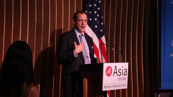 Daniel H. Rosen deliver his introductory remarks of the China SOE Report. (Kevin Kunze/Asia Society)