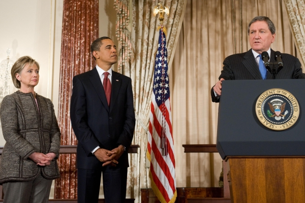 From L: Hillary Clinton, Barack Obama, and Richard Holbrooke