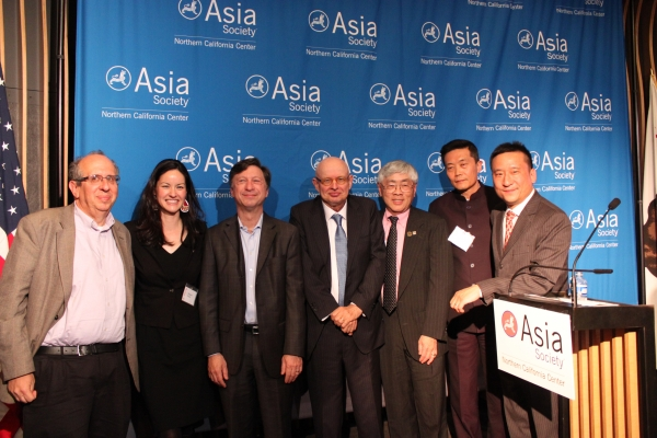 Photo of the Speakers Posing with Asia Society Leadership
