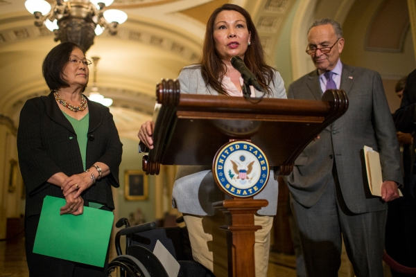 Senators Mazie Hirono, Tammy Duckworth, and Charles Schumer