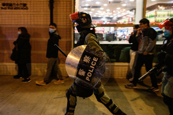 Hong Kongers protest in the wake of the coronavirus in Wuhan, China.