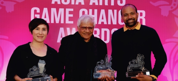 Tiffany Chung, Vivan Sundaram and Prabhakar Pachpute at the Asia Arts Game Changer Awards India 2020