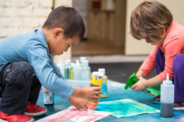 Students making art during our annual Messy Art Day