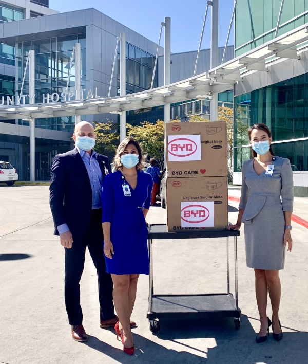 Martin Luther King Jr. Community Hospital in Los Angeles receives mask donation by Mayor Garcetti, Eileen Kwan, Charlotte Wu, Bincheng Mao and Stewart Kwoh