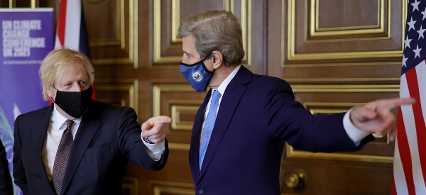 Biden and Climate - John Kerry and Boris Johnson - Number 10 carousel