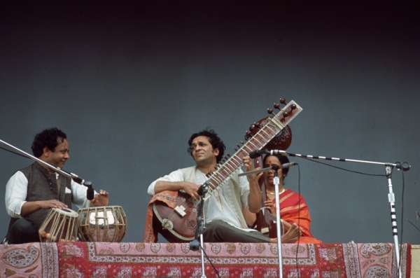 One of Shankar's breakthrough performances in the US came at the Monterey Pop Festival in June 1967, where he played before tens of thousands with tabla player Alla Rakha (L) and Kamala (R) on tamboura. (Don Nelson/Fotos International/Getty Images)