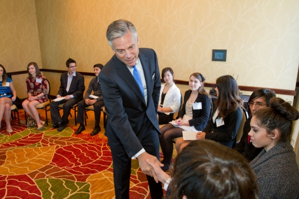 Huntsman meets with local students. (Richard Carson)
