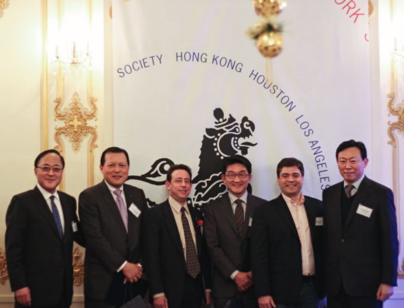 The Korea Center's 2012 Members of the Year.  L to R:  Kyongsoo Lho, ASKC co-chairman, Kag-Gyu Hwang, President of the Lotte Shopping, Steven Herman, Seoul Bureau Chief of Voice of America, Sean Kim, Chairman of the Asia 21 Korea Chapter, Stephen Revere, Managing Editor of 10 Magazine, and Dong-Bin Shin, ASKC co-chairman