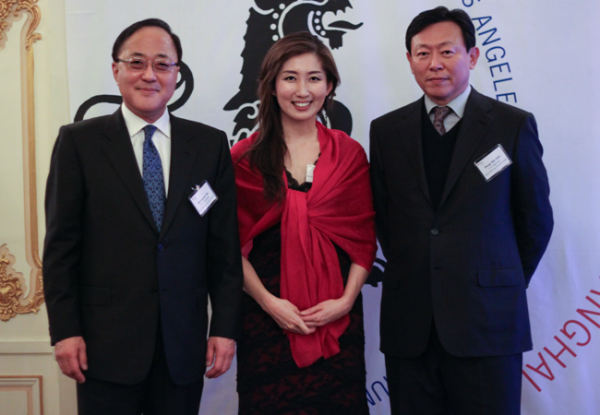 The Korea Center's officers, L to R: Kyongsoo Lho, co-chairman, Yvonne Kim, Executive Director, Dong-Bin Shin, co-chairman.