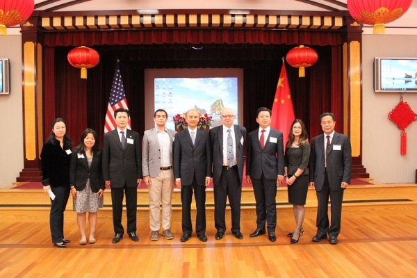 On June 22, 2016, ASNC's Young Professional's Group (YPG) organized a membership appreciation happy hour and the Consulate General of the People's Republic of China in San Francisco graciously hosted the event. A group photo prior the remarks of the Chinese Consulate in SF staff, ASNC Advisory Board Co-Chair Kenneth Wilcox and ASYPG Leadership Council. (Asia Society)