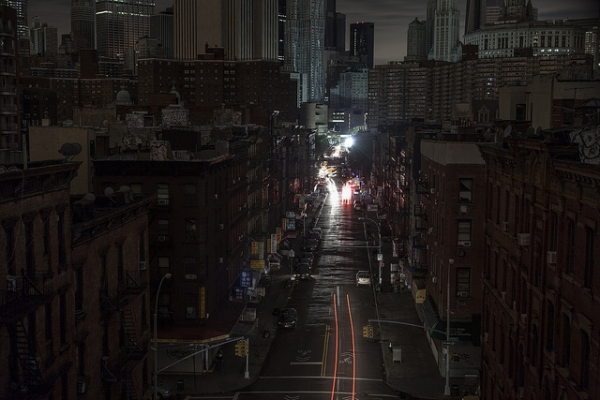 A darkened street in Chinatown, lower Manhattan, after Hurricane Sandy. (Several seconds/Flickr)