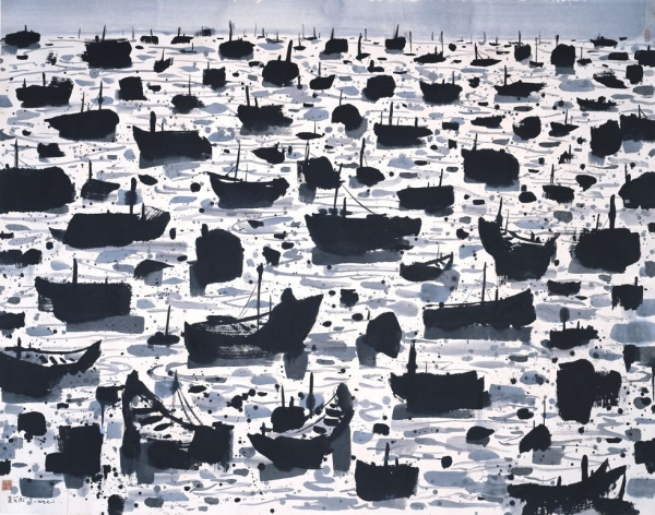 """A Fishing Harbour (III),"" 1997, Ink and color on rice paper, H. 55.1 x H. 70.9 in (140 x 180 cm), Shanghai Art Museum"