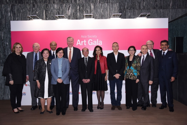 (Left to right) Asia Society President and CEO Josette Sheeran; Morgan Stanley Asia Honorary Chairman Jack Wadsworth; Asia Society Hong Kong Center Executive Director S. Alice Mong; Asia Society Global Trustee Omar Ishrak; guests; Art Gala Honorees Wucius Wong, Shahzia Sikander, and Do Ho Suh; designer Kai-Yin Lo; Asia Society Global Trustee Mitch Julis; Asia Society Policy Institute President Kevin Rudd; and Asia Society Global Trustee V. Shankar at the 2015 gala.