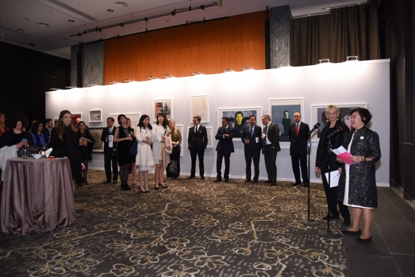 Peggy Loar, Interim Vice President for Global Arts and Culture, and S. Alice Mong, Hong Kong Center Executive Director, speaking at the 2015 reception and auction preview.
