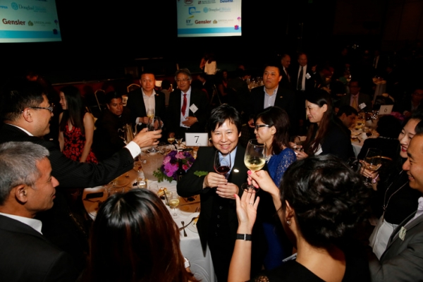 Center, 2015 Urban Visionary award winner I-Fei Chang, President and CEO, Greenland USA is toasted during the 2015 Asia Society Southern California Annual Gala on Thursday, June 20, 2015, in Century City, Calif. (Photo by Ryan Miller/Capture Imaging)