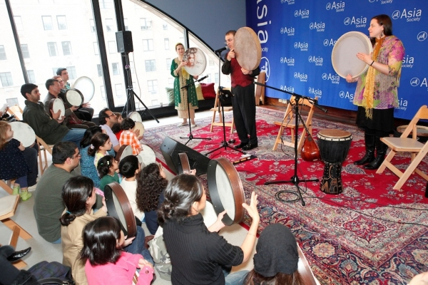 Drummers perform and teach children at Asia Society Family Days. The Family Day series, sponsored by Coca-Cola, celebrates a breadth of Asian holidays and traditions and provides activities for the whole family.