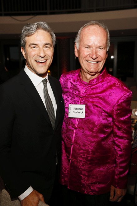 From left, 2016 Arts Visionary Award Winner Michael Govan and 2016 Education Visionary Award Winner Richard Drobnick pose during the Asia Society Southern California 2016 Annual Gala at the Skirball Cultural Center on May 22, 2016, in Los Angeles, California. (Photo by Ryan Miller/Capture Imaging)