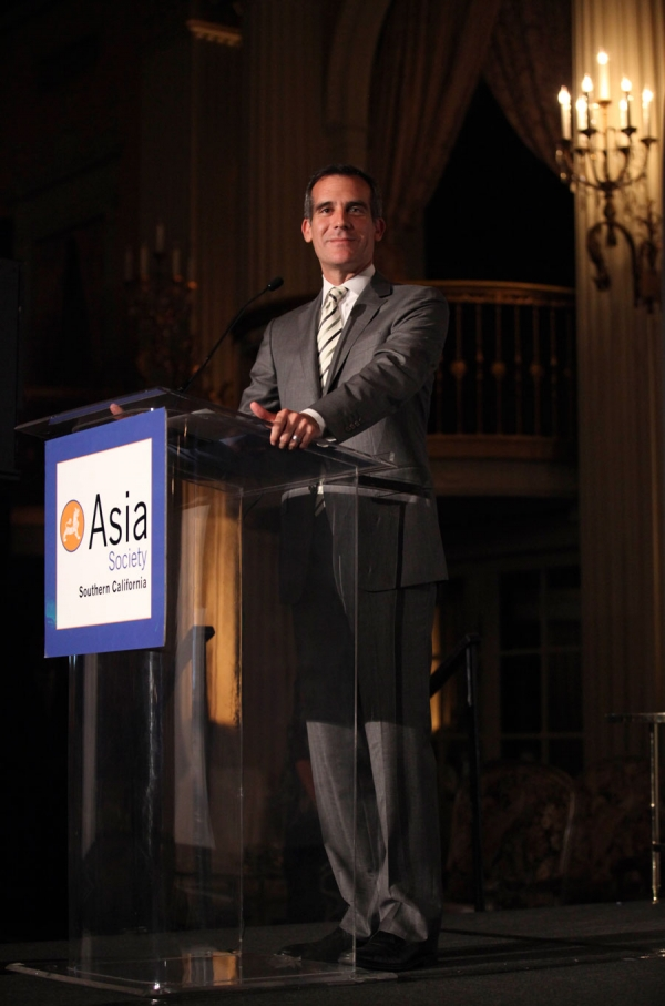 Los Angeles Mayor Eric Garcetti speaks during the Asia Society Southern California 2014 Annual Gala held at the Millennium Biltmore Hotel on Monday, May 19, 2014, in Los Angeles, Calif. (Photo by Ryan Miller/Capture Imaging)