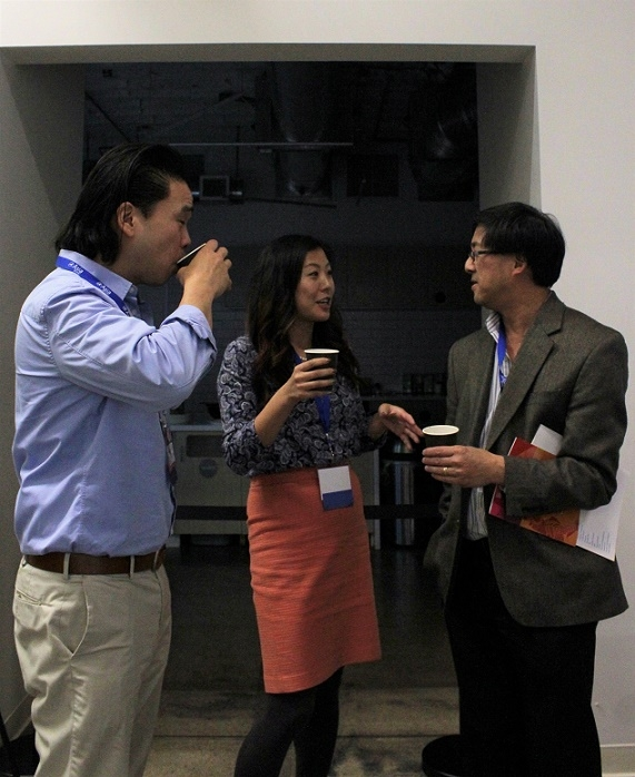 DLF attendees mingle during the coffee break (Stesha Marcon).
