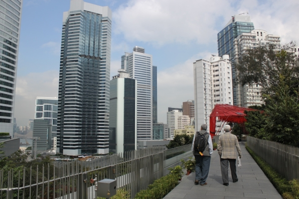 The Center's walkways provide visitors with sweeping views of the high rise buildings in Hong Kong's Admiralty and Central districts. (Credit: Asia Society)