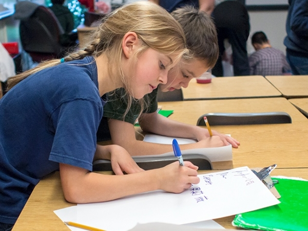 Mandarin Immersion 5th graders can write Chinese characters as they develop fluency at Beacon Hill International School.