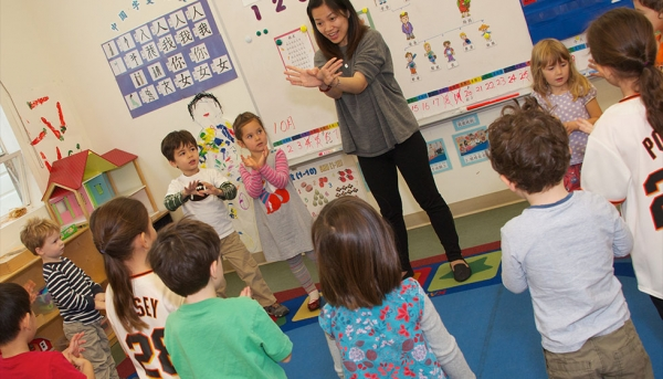 Circle time in Fu Laoshi's pre-kindergarten class. (Chinese American International School)