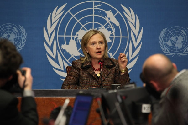 U.S. Secretary of State Hillary Rodham Clinton speaks at a press conference at the United Nations Office at Geneva, Switzerland, on February 28, 2011. (Eric Bridiers/State Department/Public Domain)