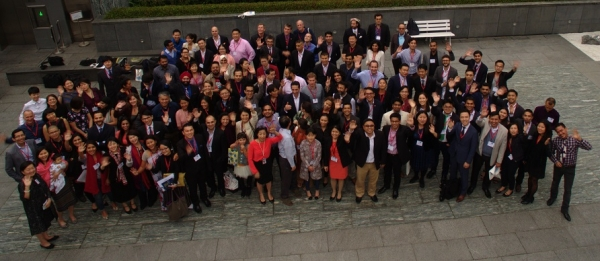 Asia 21 Young Leaders gathered at the Asia Society Hong Kong Centre Rooftop during the Asia 21 Anniversary Summit held on December 2-4, 2015
