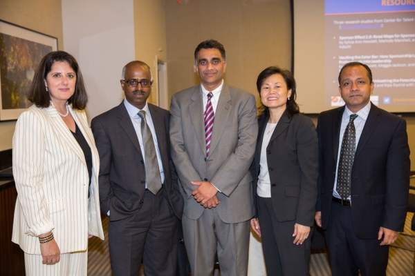L to R: Jyoti Chopra, Managing Dir, Global Head of Diversity & Inclusion, BNY Mellon; Subramaniam Kumar, VP, Infrastructure Engineering, Freddie Mac; Kulin Hemani, VP, Siemens USA; Kelly Chow, Corp VP, New York Life; Indranil Bagchi, VP, Pfizer