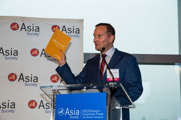 David Reid, Director of Corporate Relations, presenting 2013 Asian Pacific American Corporate Survey at Diversity Leadership Awards Ceremony