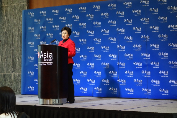 Dr. Margaret Chan, WHO's Director-General, made a speech on infectious diseases at Asia Society Hong Kong Center on December 20, 2012. (Wendy Tang/Asia Society Hong Kong Center)